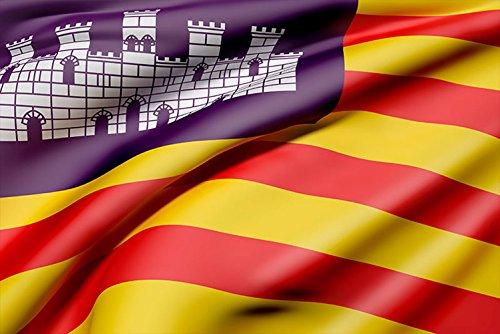Oedim Bandera de La Comunidad de Las Islas Baleares 85x150cm | Reforzada y con Pespuntes| Bandera de La Comunidad de Las Islas Baleares con 2 Ojales Metálicos