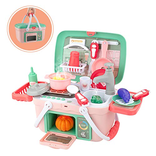 SHAWE Kids Kitchen Playset Toys 30 Pieces Pretend Play Chef Cooking Kitchen Set,Portable Basket Toy with Musics,Lights,Spray,Play Foods,Sink,Pretend Play Oven,Kitchen Accessories Toys for Boys Girls