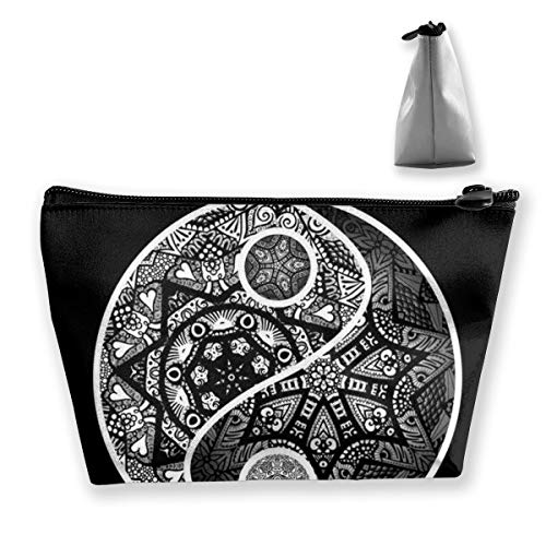 Zentangle Art Print Large Makeup Portable Travel Cosmetic Bags Professional Train Cases