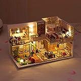 Kits de maison de poupée japonaise Dora Loft Handcraft Kits de modèle de maison de poupée en bois Meilleurs cadeaux Kit de maison de poupée bricolage 3D assemblé à la main Villa anniversaire / Noël /