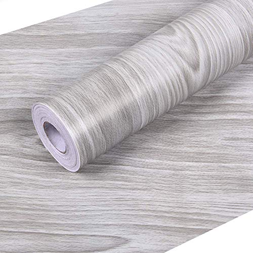 """Wall Paper Gray Wood Contact Paper 17.7""""x 118"""" PVC Self Adhesive Wood Wallpaper Thick Easy to Clean Wall Covering"""