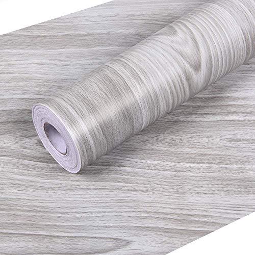 Hatoku graues Holz-Kontaktpapier, 45 x 31,8 cm, selbstklebende Holzfolie, zum Abziehen und Aufkleben, abnehmbare dekorative PVC-Tapete, dick, wasserfest, leicht zu reinigende Wandabdeckung, Vintage-Stil, Holzpaneele, Vinylfolie, Rolle