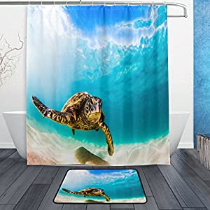 "Naanle Fantastic Blue Ocean Deep Sea with Sea Turtle Waterproof Polyester Fabric Shower Curtain (60"" x 72"") Set with 12 Hooks and Bath Mats Rugs (23.6"" x 15.7"") for Bathroom - Set of 2"