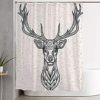 Avnaalvl Fabric Bathroom Curtain Sets Whitetail Horned Deer Graphic Head Texture White Design Rack Animals Tattoo Wild Wildlife Vintage Shower Curtain Bath Curtains with Hooks 72  W x 72  H