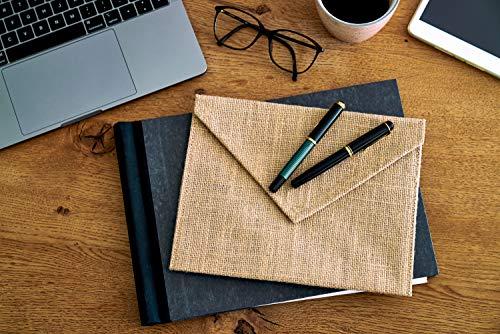 5 Stk. Brief-Kuvert aus 100% Jute, Gutschein-Kuvert, Größe 25x18 cm, Juteverpackung, Geschenk-Kuvert, Briefumschlag, Gutscheinverpackung, Mappe für Unterlagen, Geschenkverpackung, Aufbewahrung (Natur)