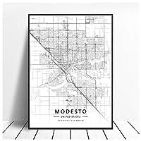 Ipea モデストオクラホマシティサニーベールマップトラベルシティ絵画ポスターとプリントキャンバスウォールアート写真ホームルームの装飾-50X70Cmフレームなし