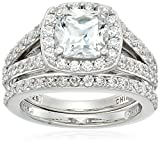 Platinum-Plated Sterling Silver Halo Ring set with Cushion Cut Swarovski Zirconia (2.41 ct...