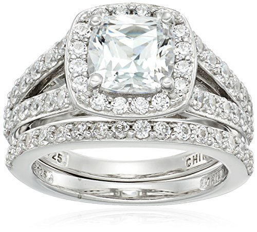 Platinum-Plated Sterling Silver Halo Ring set with Cushion Cut Swarovski Zirconia (2.41 cttw), Size 6