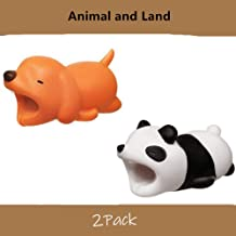 YMH Cable Protector for iPhone iPad Cable Plastic Cute Land Animals Phone Accessory Protects USB Charger Data Protection Cover Chewers Earphone Cable Bite 2 PC (Dog&Panda)