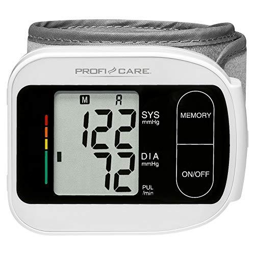 ProfiCare PC-BMG 3018 Handgelenk-Blutdruckmessgerät, vollautomatische Blutdruck-und Pulsmessung, LCD-Display, 3-Werte-Anzeige, 2x60 Speicherplätze, Anzeige von Datum und Uhrzeit