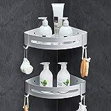 Linkax Estanteria Ducha sin Taladros, Estanteria Baño Autoadhesivo para Organizar Productos con 4 Ganchos, Aluminio Estante Baño Ducha Y Cocina, 2 Piezas Plata