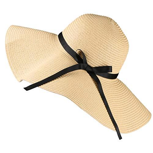 Tencoz Sombrero de Paja para Mujer, Sombrero de Verano de Paja Plegable Ajustable Sombrero de Vacaciones ala Ancha 5.90 ″ -UPF 30