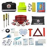 Asistencia en carretera AUTO Kit de emergencia + botiquín de primeros auxilios Jumper Cables, cuerda de remolque, luz de flash LED, impermeable, medidor de presión de neumáticos, chaleco de seguridad
