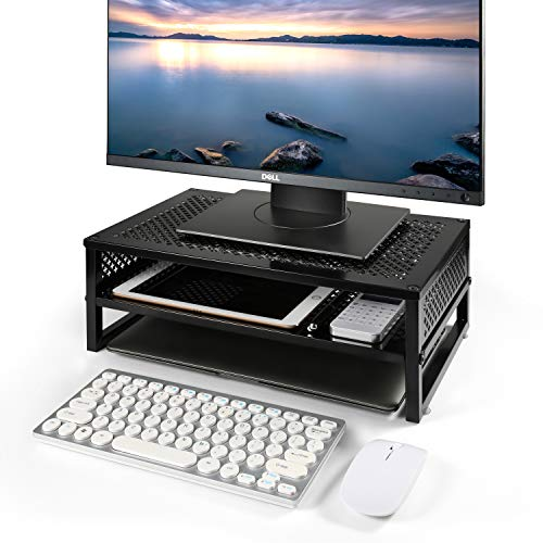 Simple Trending 2-Tier Monitor Stand Riser, Metal Desk Organizer Stand with Anti-Slip Suction Cup for Laptop, Computer, iMac, Pc, Printer, Black