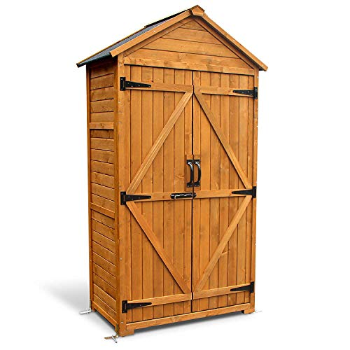 MCombo Outdoor Wooden Storage Cabinet Backyard Garden Shed Tool Sheds Utility Organizer with Lockable Double Doors 1000 (Natural)