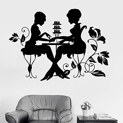 WERWN Moda Mujer Tatuajes de Pared Nail Art Studio manicura salón de Belleza habitación de niñas decoración de Interiores Papel Tapiz Floral Vinilo Art Stickers