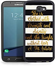 Ftfcase Compatible to Samsung Galaxy J7 2017 Case, J7 2017(AT&T), J7 Sky Pro, J7 Perx case TPU Rubber Gel Design with Samsung Galaxy J7 V 2017 - Christian Quote 31:25/ Black and White Stripe