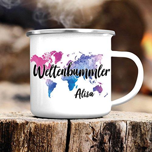 Wandtattoo-Loft Campingbecher Emaille Weltenbummler mit Wunschnamen – Weltkarte Wanderlust - Emailletasse/silberner Tassenrand