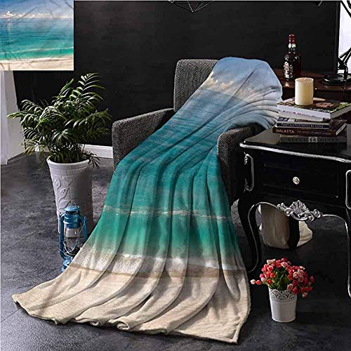 Blankets, For Bed Couch Chair Ultra Soft Mikrofaser Bed Blanket For Bed,Couch Or Travel,Ocean/Quiet Tranquil Beach And Sky,50'x40'