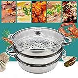 Olla de acero inoxidable para cocinar al vapor de 3 animales, con tapa de cristal, olla para sopa, vapor, olla para cocinar al vapor, diámetro de 28 cm, para verduras, pescado, 3 animales