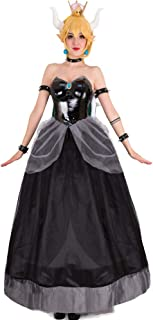 Women's Bowsette Princess Bowser Kuppa Hime Cosplay Costume Dress with Horn and Turtle Shell