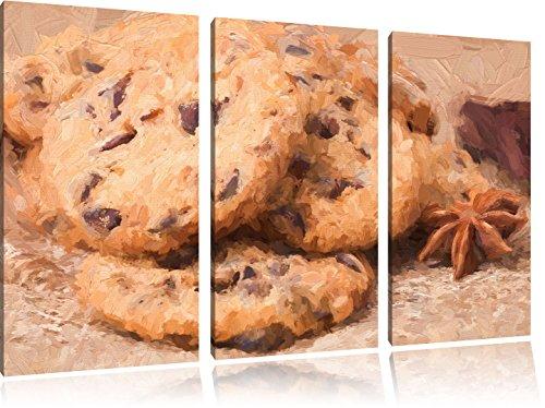 Koekjes met chocolade chipsFoto Canvas 3 deel   Maat: 120x80 cm   Wanddecoraties   Kunstdruk   Volledig gemonteerd