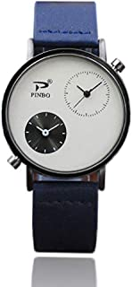 Fashion Clearance Watch! Noopvan Mens Watches Clearance Retro Records Design Fashion Dress Wrist Quartz Watches with Digital Dail Leather Band Casual Alloy Analog Classic Business Watches (Blue)