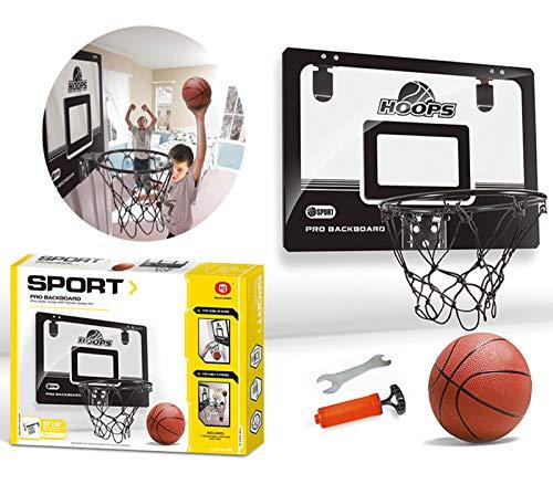 XJIANQI Kinder Mini Basketballkorb Jungen Schlafzimmer Indoor Free Perforiert Transparent Suspension Ball Sport Anzug Schwarz