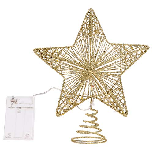 NUOBESTY Christmas Tree Topper LED Lighted Star Tree Topper Xmas Tree Topper for Christmas Tree Decorations (Golden)
