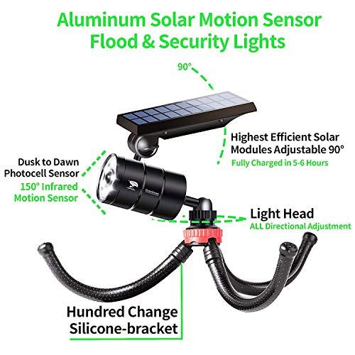 Solar Motion Sensor Light Outdoor Spotlight of 2 Aluminum 9W 1400-Lumen (130W Equi.) LED Solar Security Flood Lights for Patio Path Porch Garden Camping, 100-Week 100% Free Replacement