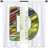 Lettera D ombreggiatura tenda isolante, lettera di ornamento D da Alphabet Winter Color Scheme Disegni Old School Retro, tonalità insonorizzate, W52 x L54 pollici multicolore