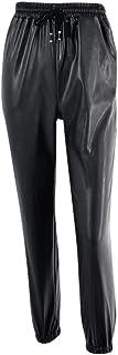 U/A Sexy Pantaloni In Pelle Pantaloni Delle Donne Streetwear Harem Pantaloni Della Tuta A Vita Alta Elastico In Ecopelle P...