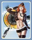 """Lotusworld - Placa metálica para pared, diseño de avión con texto en inglés """"Pin Up Girl Air Force B..."""