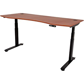 """ApexDesk Elite Series 71"""" W Electric Height Adjustable Standing Desk (Memory Controller, 71"""" Red Cherry Top, Black Frame)"""