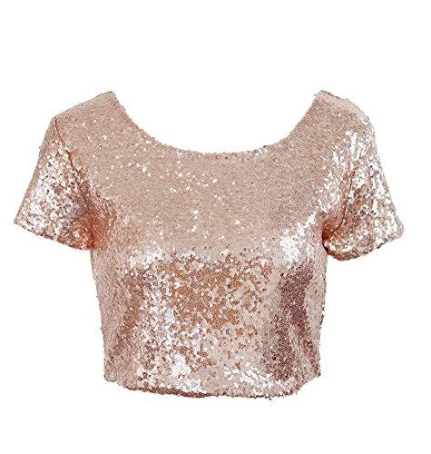 keland Frauen Sexy Pailletten T-Shirt Skinny Backless Club V-Ausschnitt Weste Pailletten Top (Champagner, XL)
