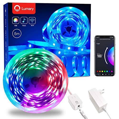 Lumary Luces LED Habitacion 5M - RGB Tiras LED Wi-Fi Inteligente Música Luces LED Color LED Lights Decorativas para Habitación Cocina&Fiesta Control de Voz/Remoto Compatible con Alexa/Goog