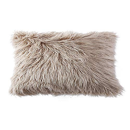 OJIA Deluxe Home Decorative Super Soft Plush Mongolian Faux Fur Throw Pillow Cover Cushion Case (12 x 20 Inch, Light Coffee)