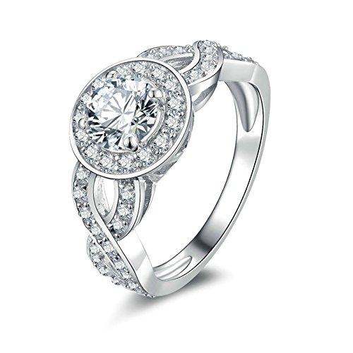 Adokiss Anillos de plata 925, alianzas de boda para mujer, anillo de compromiso para mujer, anillo blanco, redondo, brillante, circonita, tamaño 60 (19,1)