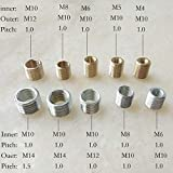 10pieces/lot M4/5/6 to M10, M8 to M10, M10 to M12/M14 Threaded Hollow Tube Adapter Inner Outer Threaded Coupler Conveyer Adapter - (M8 to M10, Zinc Plated, Thread Diameter: 1.0mm Pitch, Length: 10mm)