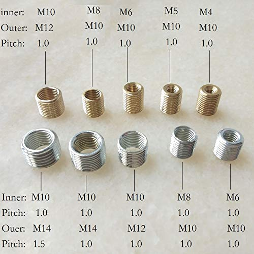 Ochoos 10 Stück/Lot M4/5/6 auf M10, M8 auf M10, M10 auf M12/M14 Gewinde-Hohlrohr-Adapter Innengewinde-Kupplung Förderer Adapter M6 to M10 / Zinc plated / 1.0mm pitch / 10mm