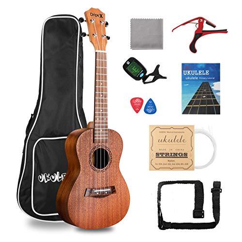 Dripex Soprano Ukulele 23 Inch with Beginner Kit (Ukulele Bag, Tuner,...