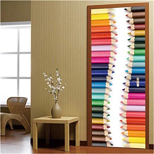 Etiqueta engomada de la Puerta Papel Lápices de Color 3D Adhesivo de Vinilo Cartel Impermeable Etiquetas de la Pared Pegatinas de diseño para el hogar en Las Decoración 77x200cm