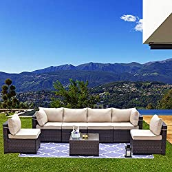 🎄[DURABLE & SOLID MATERIAL] Kullavik outdoor patio furniture set is made of durable synthetic rattan wicker which is more sturdy and long-lasting than traditional wicker. Solid and anti-rust steel frame improves the sofa's stability and lifespan. Tem...