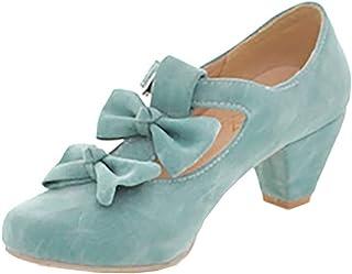LOVOUO Mary Jane Chaussures Femme Lanière Escarpin Talon Bloc Carré Bas avec Noeud Boucle Sweet 4CM
