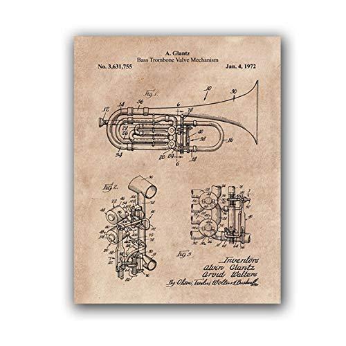 Bajo trombón válvula Planos Lienzo Impresiones música Retro Pared Arte Vintage póster músico Regalo Pared Cuadros para Sala de Estar Decoracion 40x60 cm no Marco
