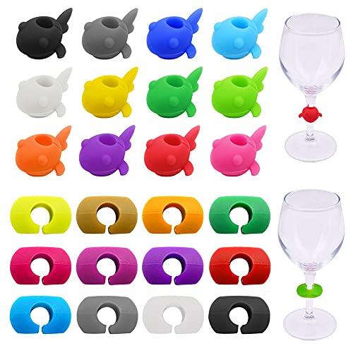 Tucireat Segna Bicchieri 24 Pezzi Segnabicchieri Marcatori Marcatori per Bevande Marcatori Bicchieri Anello in Silicone Segnabicchieri Silicone Marcatori per Bicchieri Colori Casuali