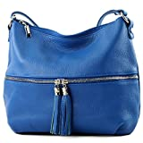modamoda de - T159 - ital Umhänge-/Schultertasche aus Leder, Farbe:Royalblau