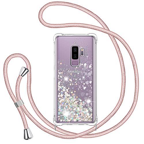 TUUT Funda Glitter Liquida con Cuerda para Samsung Galaxy S9 Plus, Glitter Cristal Suave Silicona TPU Bumper Protector Carcasa, Brillante Arena Movediza con Colgante Ajustable Cordón Case -Oro Rosa