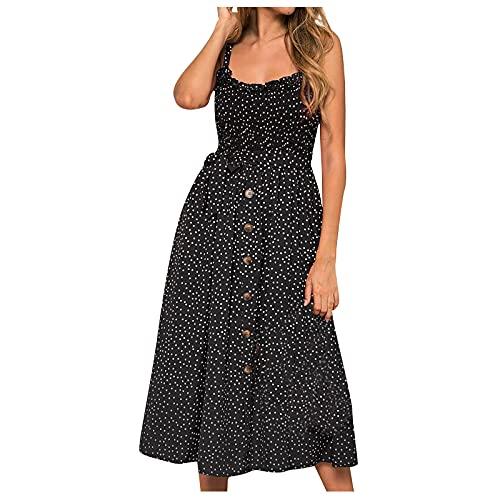 Liably Vestido de mujer con volantes y estampado de lunares, vestido de verano, multicolor, sexy, cintura alta, informal, vestido de punto Negro XL