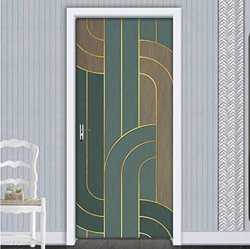 Mural Para Puerta Dormitorio De La Sala De Estar De La Pared De La Raya 3D Desmontable Autoadhesivo Papel Pintado Puertas 90 X 200 cm